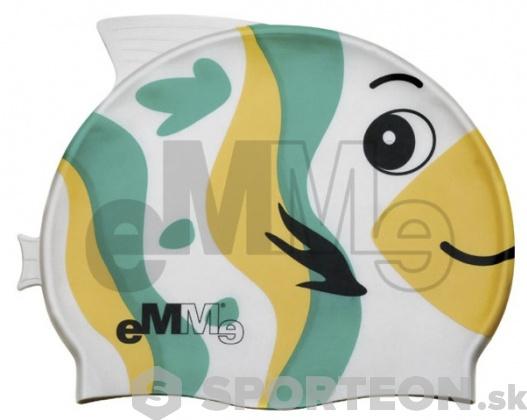 Detská plavecká čiapočka Emme zeleno-žltá ryba