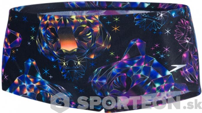 Speedo Diamondize 14cm Allover Brief Teen Black/Bubblegum Pink/Post It Pink