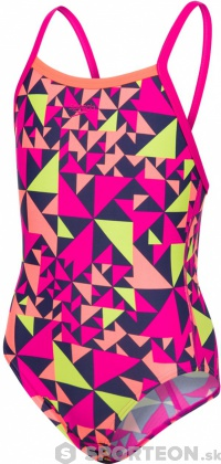 Speedo Fluotime Allover Thinstrap Crossback Girl Electric Pink/Fluo Orange/Navy/Lime Punch