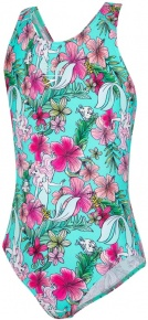 Speedo Little Mermaid Allover Splashback Girl Floral Mint/Pink/Orange/Blue/Green