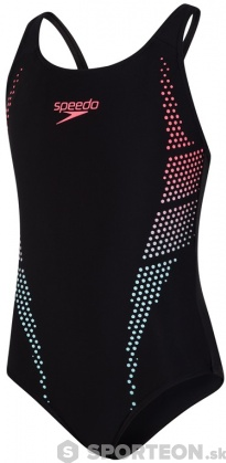 Speedo Plastisol Placement Muscleback Girl Black/Phoenix Red/Chill Blue