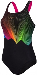 Speedo ColourGlow Placement Digital Medalist Black/Electric Pink/Lava Red/Mango/Green Glow