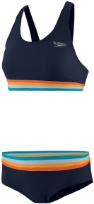 Speedo Solid U-Back 2 Piece True Navy/Orange Fizz/Mango/Sky Blue/Blue Bay