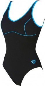 Arena Tania Clip Back One Piece Black/Turquoise