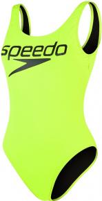 Speedo Logo Deep U-Back 1 Piece Fluo Yellow/Black